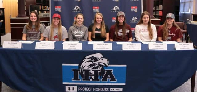 Seven IHA student athletes signed on to continue their athletic careers in college.