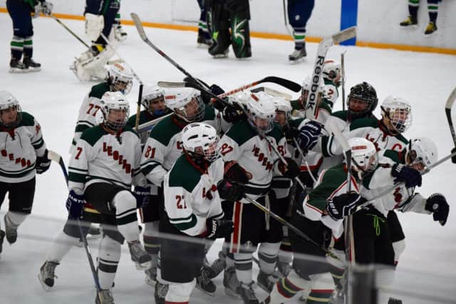 Irvington High School's varsity ice hockey team celebrates its 5-4 overtime victory Jan. 9 against Mt. Pleasant.