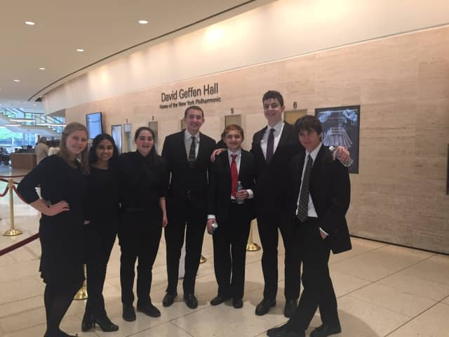 A group of Irvington Union Free School District students performed in the Greater Westchester Youth Orchestras Association Spring Gala concert, held at the David Geffen Hall on May 1.