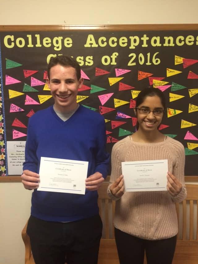 Irvington High School seniors Zachary Gallin and Sweta Narayan.