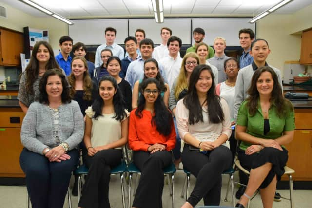 These Irvington High School students showcased their science research at a May 24 Science Research Symposium.