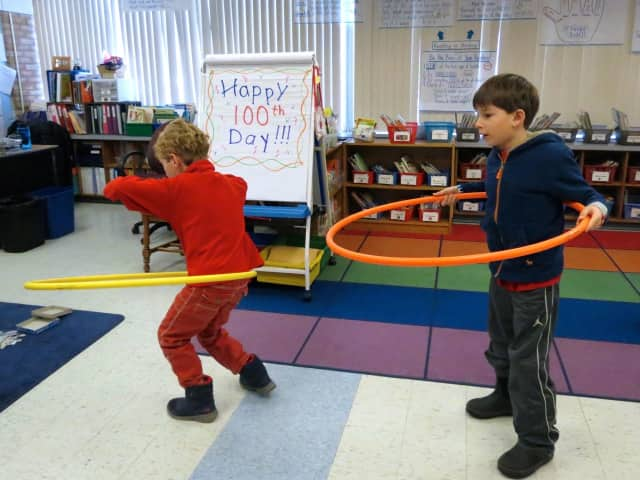 Students at Increase Miller Elementary School celebrate with 100th school day.