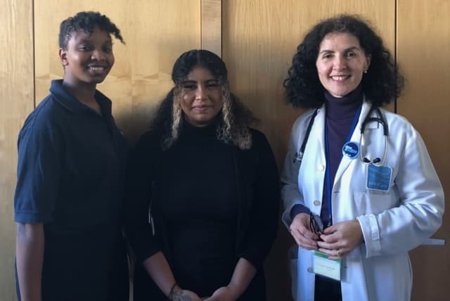 HRHCare All of Us Research Enrollment Specialists Josha Matthews and Knissa Garcia with Dr. Liliana Lombardi-Desa, All of Us Physician Lead for HRHCare Beacon.