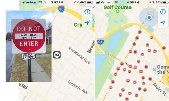 The navigation app to the left, just before Monday's rush hour, shows open roads. On the right: The result between 4-9 p.m. (same for 6-10 a.m.).