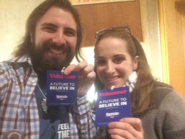 Connecticut Bernie Sanders supporters Nina Sherwood of Stamford and Chris Yerinides of Norwalk are among the many energized by Monday's Iowa caucus.