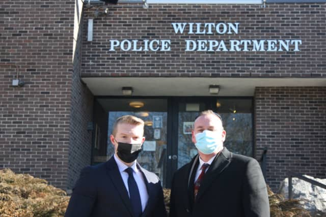 New Wilton Police officers Matthew Collins (left) and Kevin Maloney.