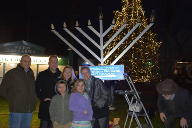 A menorah lighting in Wilton.