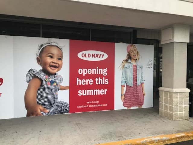 A front display window at a new Old Navy store set to open this year.