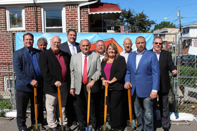 Owners Jim Given, Michael Goras, Paul Fine, are shown with Mayor Joe Bianchi, councilmembers Rich Hughes, Mario Karcic, Allison Sheedy and Dan Pronti, Borough Administrator Stephen Iacono and former mayor Len Kaiser.