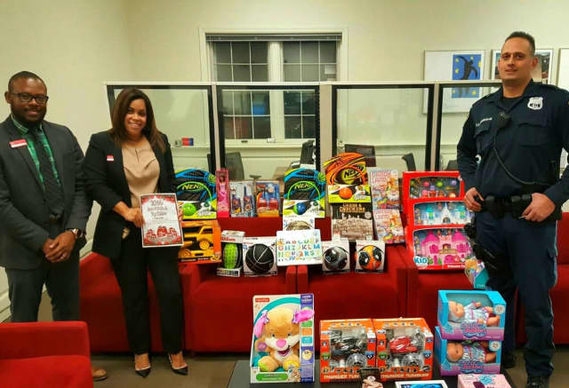 The Fairview Bank of America branch has one of the dropoff points for the Bergen County PBA Toy Drive.