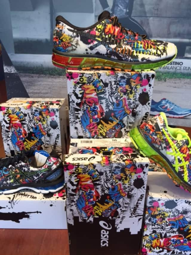 The Aspics limited edition shoe created for the New York City Marathon is available at the Rye Running Company.