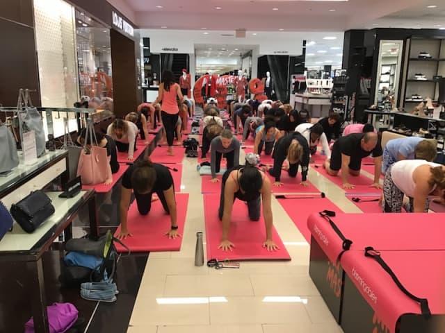 Pink Yoga last Saturday at Bloomingdale's White Plains. Photo courtesy Bloomingdale's White Plains.