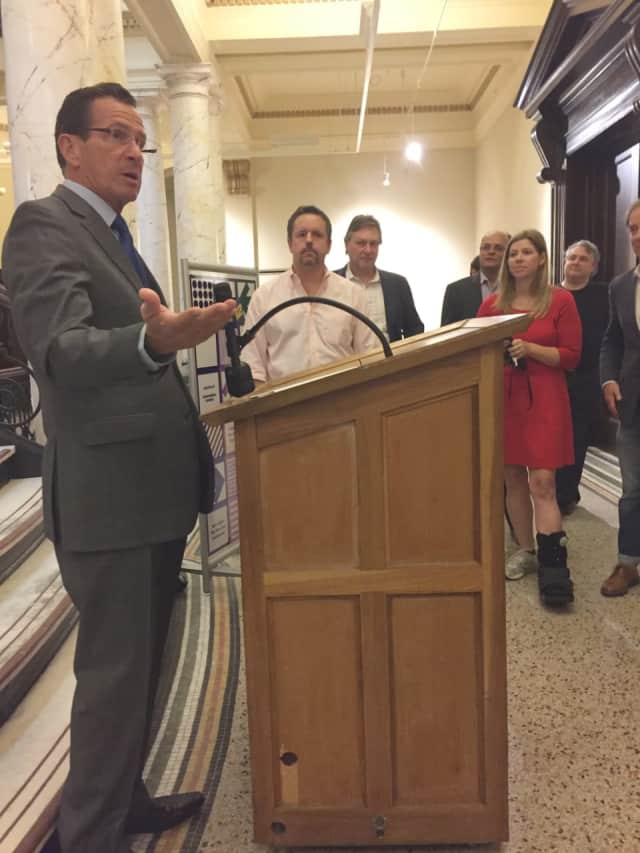 Gov. Dannel P. Malloy speaking Tuesday in Stamford.