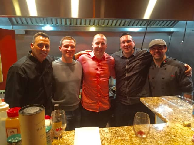 From left: Mayor of Westwood/Guest Chef John Birkner Jr., Officer Chris Horst, Officer Dean McCarroll, Officer Anthony Piccinich and Caffe Anello Executive Chef John Vitale.