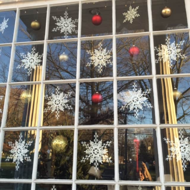 The tree and window was decorated by the Bedford Kitwits at the Bedford Library.