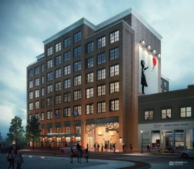 An artist's rendering of the future SONO Residence Inn by Marriott in Norwalk
