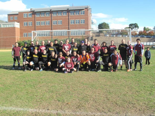 Coaches from the Carlstadt and East Rutherford Soccer Leagues kicked off against one another.