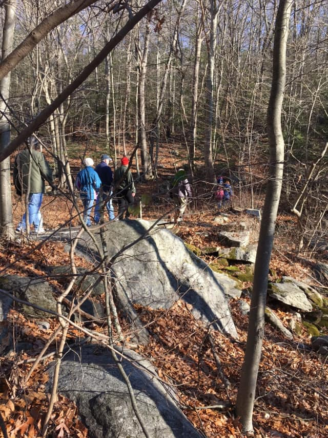 Hikers enjoy a walk in the woods on New Year's Day at Osbornedale State Park in Derby.