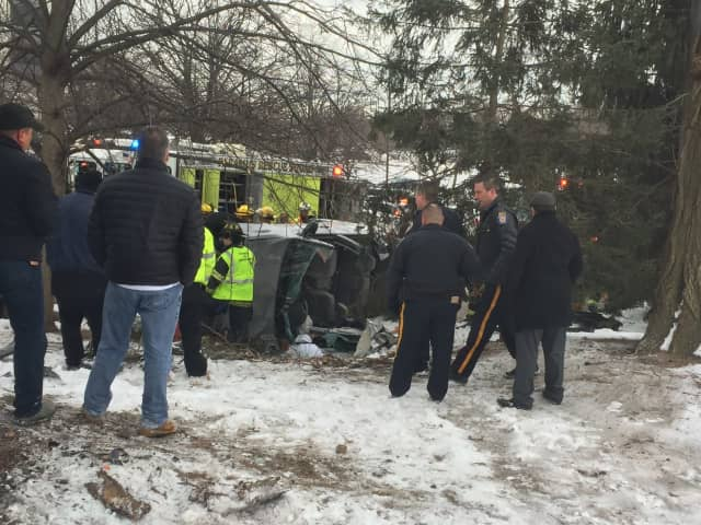 A crash occurred on Ridgewood Ave. in Paramus Monday.