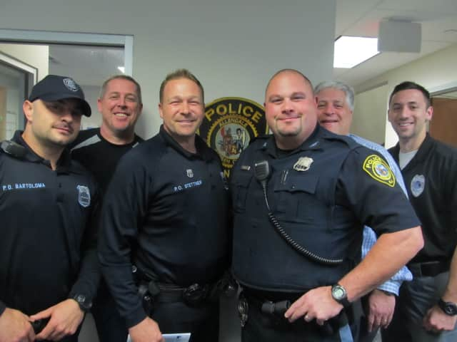 Getting a jump on No-Shave November (from left): Allendale Patrolman Vic Bartoloma, Sgt. Bill Kroepke, Patrolman Paul Stettner, Patrolman Vincent Rizzo, Chief George Scherb, Dispatcher Chris Formisano.