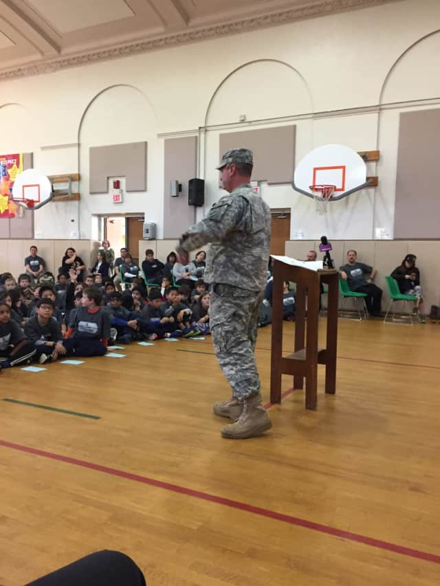Local officials joined with students and teachers this week to honor veterans at a special Veterans Day assembly at Seely Place Elementary School in Scarsdale.