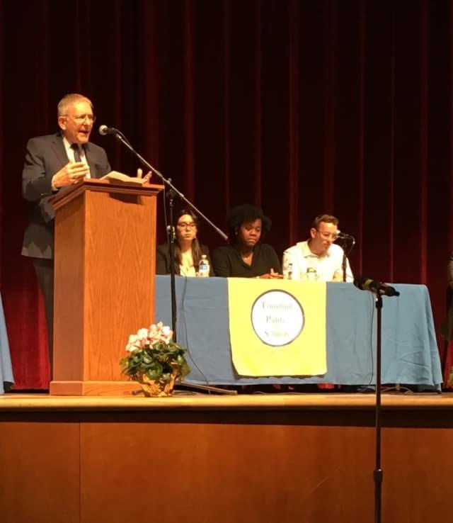 School Superintendent Gary Cialfi hosts a forum at Trumbull High School