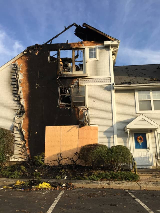 A fire destroyed two units of a condominium complex in Stamford Wednesday night.