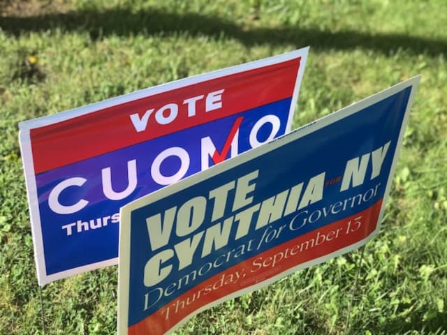 Democratic campaign signs in the New York Governor's primary race lined Route 9 in Ossining on Thursday.