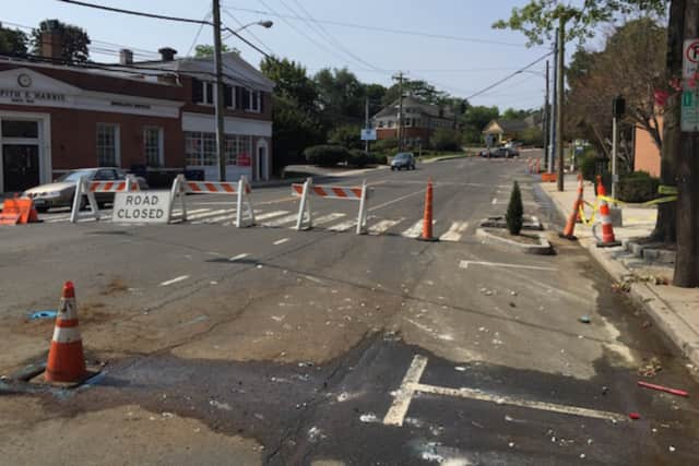 A water main break closed part of Post Road in Cos Cob Saturday night and Sunday.