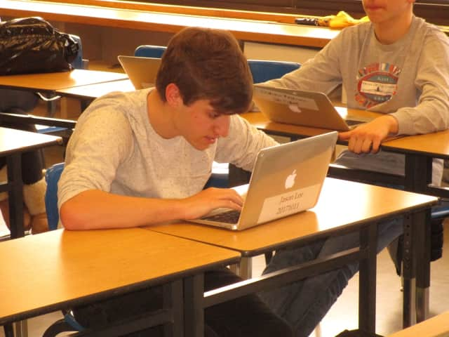"Students work on their laptops during a ""virtual day"" at Northern Valley Regional High School Demarest."