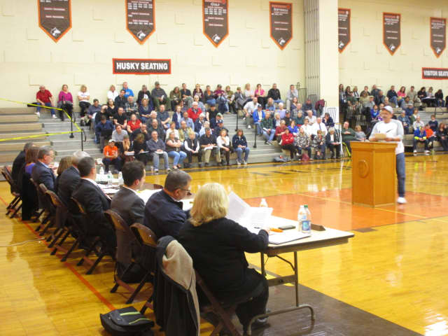 Residents speak to the Dumont mayor and council during a special public meeting last month dealing with the planned development of D'Angelo Farms.