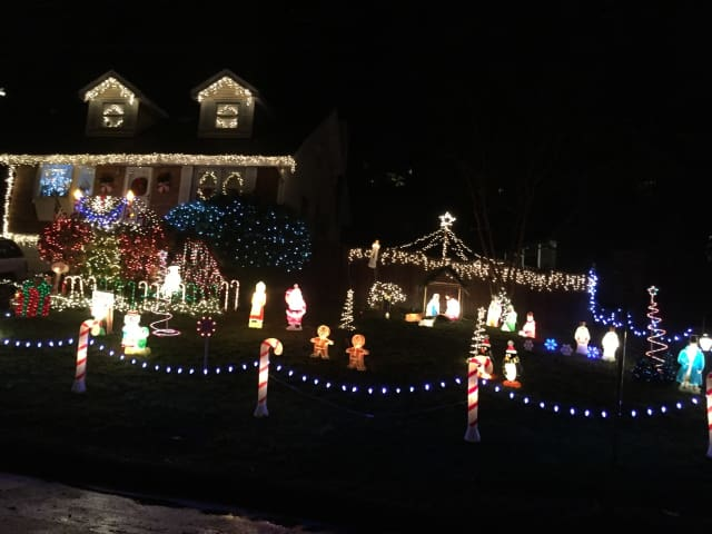 Home on Pine Avenue in Ossining decorated for Christmas