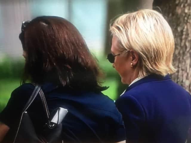 Hillary Clinton, right, at the 9/11 ceremony on Sunday morning.
