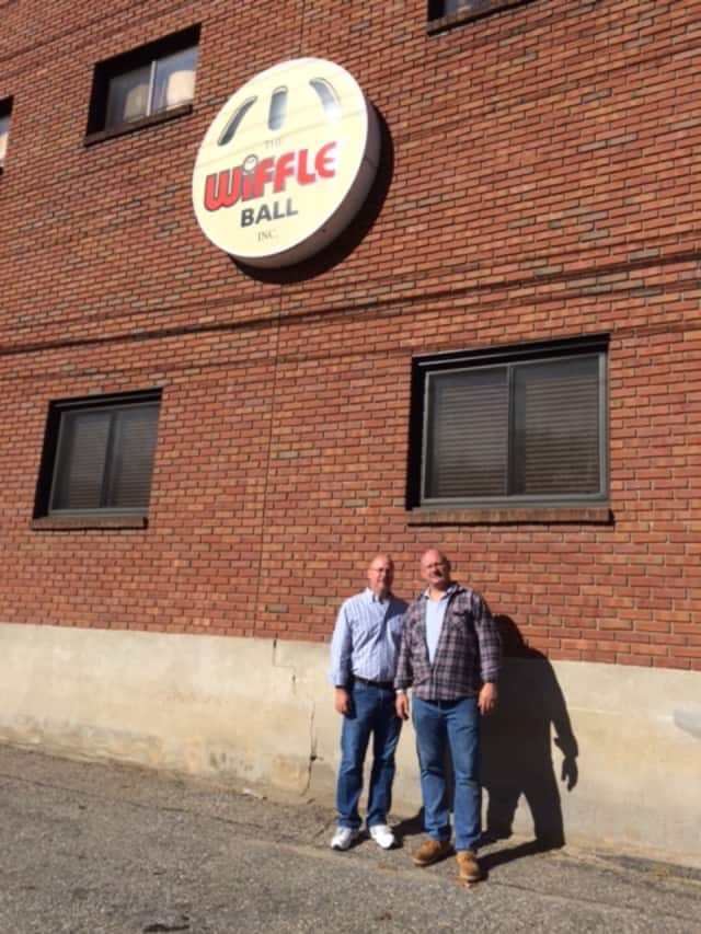 David and Stephen Mullany outside their Wiffle Ball factory in Shelton.