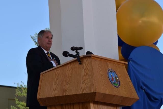 Bergen County Executive James J. Tedesco III speaks at the ceremony in Paramus.