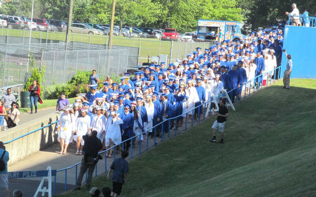 The student procession begins for the Danbury High graduation last year.