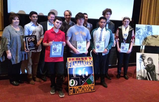 Eight finalists gather at Fort Lee High School for the 2015 Jersey Filmmakers of Tomorrow festival Saturday, Nov. 7. Among the finalists were Anthony Lorelli, Kyle Siringan and Alexander Garcia of Bergenfield High School.