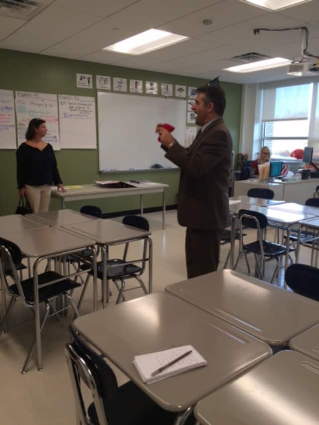 Headmaster Greg Hatzis leads a tour of the new classrooms and cafeteria at Fairfield Ludlowe High School last year.
