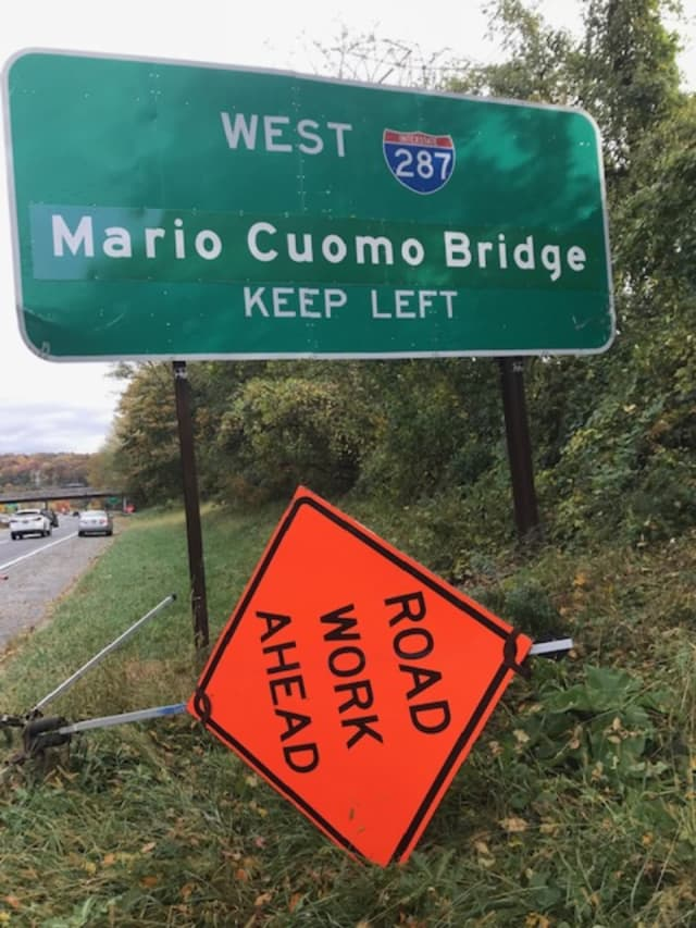 "In Greenburgh, a ""first draft"" of the signs replacing the former Tappan Zee Bridge signs named after Gov. Andrew Cuomo's father -- the late Mario M. Cuomo."