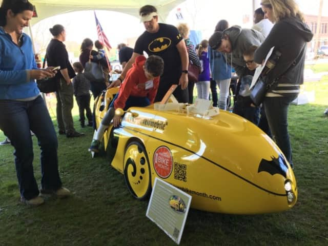 "The maker of this Batmobile tools around New Haven on this high-tech tricycle. It was on display at the Westport Maker Faire. Faire makers this year may showcase their creativity around an ""earth"" theme at the 2017 faire on April 22."
