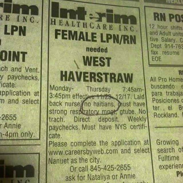 The help-wanted ad that has sparked outrage.