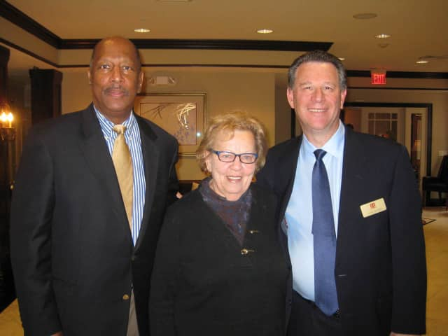 From left, State Assemblyman Gordon Johnson, State Senator Loretta Weinberg and Teaneck Rotarian of the Year Joel Goldin.
