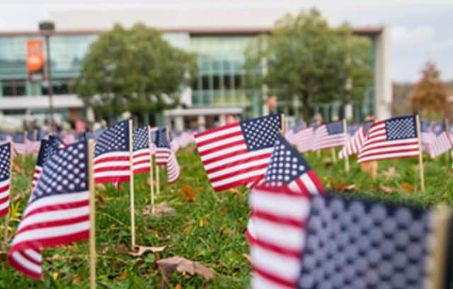 Thousands of flags were planted on the Wayne campus of William Paterson University.