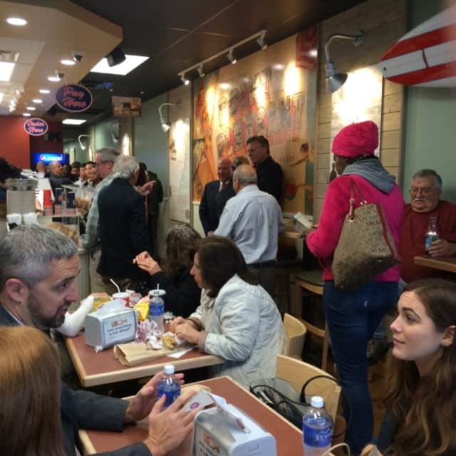 Customers line up for lunch at the Jersey Mike's in Westport.