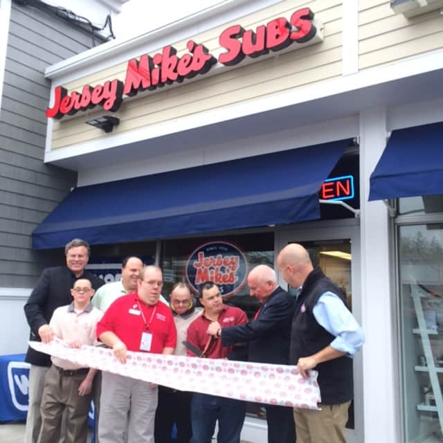 First Selectman Jim Marpe and representatives from Jersey Mike's and Special Olympics officially open the new eatery in Westport.