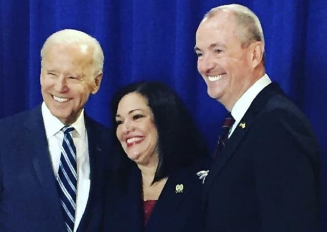 Assemblywoman Marlene Caride poses with former Vice President Joe Biden and New Jersey Governor-Elect Phil Murphy.
