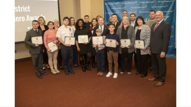 Congressman Josh Gottheimer recognized a group of hometown heroes during at Holy Name Medical Center in Teaneck.