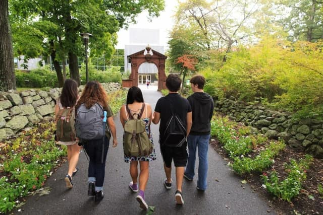 Students walk on the Ramapo College campus in Mahwah.
