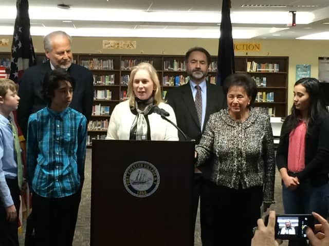U.S. Sen. Kirsten Gillibrand, joined by Dr. Edward A. Kliszus (right rear), Port Chester's Superintendent of Schools, Rep. Nita Lowey (right front), Dr. Allen Dozor (left), Maria Fareri Children's Hospital.