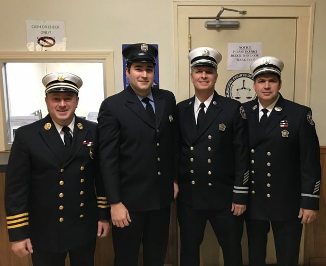 Four Teaneck firefighters were promoted Tuesday.